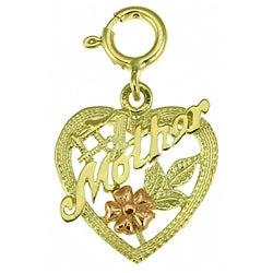 14k Yellow Gold '#1 Mom' Heart Charm