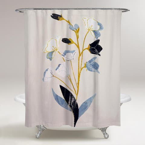 Oliver Gal 'White Flowers with Ochre' Floral and Botanical Decorative Shower Curtain Florals - Blue, Gold