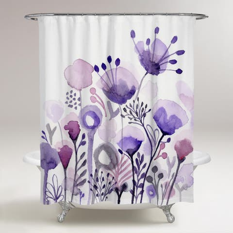 Oliver Gal 'Purple Floral Forest' Floral and Botanical Decorative Shower Curtain Gardens - Purple, White