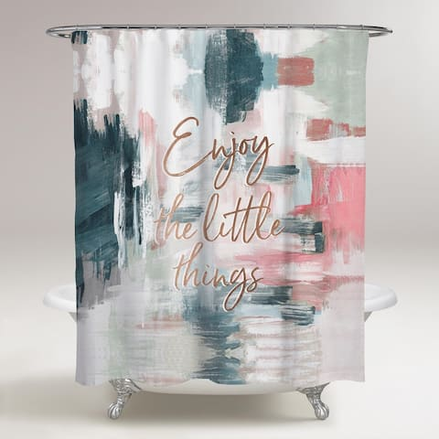 Oliver Gal 'Enjoy The Little Things' Typography and Quotes Decorative Shower Curtain Inspirational Quotes - Gold, Pink