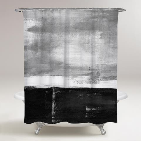 Oliver Gal 'Fondo BW' Abstract Decorative Shower Curtain Paint - Gray, White
