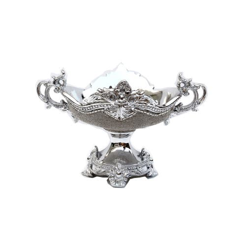 Ambrose Crystal Embellished Ceramic Fruit Platter (14 In. x 11.5 In. x 9.5 In.)