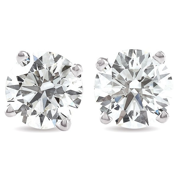 Pompeii3 14k White Gold 4 Ct TW Moissanite Studs Screw Back Earrings