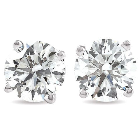 Pompeii3 14k White Gold 3 Ct TW Moissanite Studs Screw Back Earrings