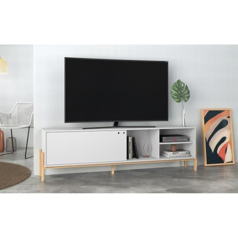 Bowery 72.83 TV Stand with 4 Shelves in Black and Oak