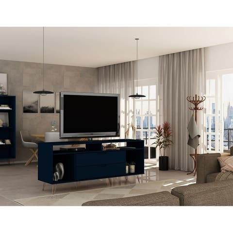 Rockefeller 62.99 TV Stand with Metal Legs and 2 Drawers by Manhattan Comfort