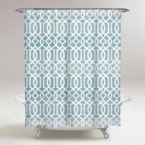 Oliver Gal 'Elabrado' Abstract Decorative Shower Curtain Patterns - Blue, White