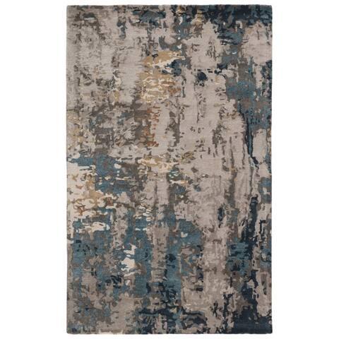 Carbon Loft Abhartach Handmade Abstract Dark Blue and Gray Area Rug