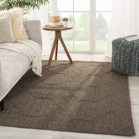 The Gray Barn Selkie Cove Natural Trellis Brown and Grey Area Rug
