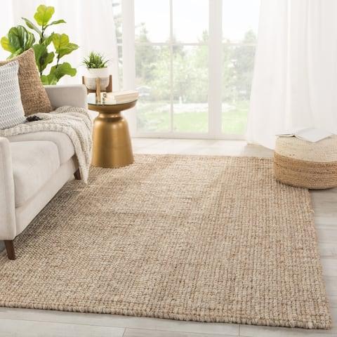 Porch & Den Behrend Light Grey and Tan Jute/Wool Area Rug