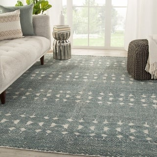Thandie Hand-Knotted Medallion Teal/ Light Gray Area Rug