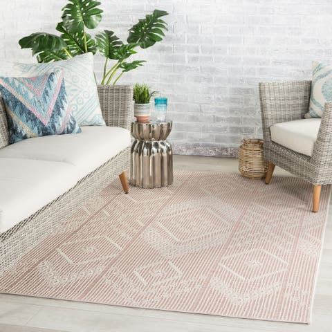 Aravela Indoor/ Outdoor Tribal Pink/ Cream Area Rug by Havenside Home