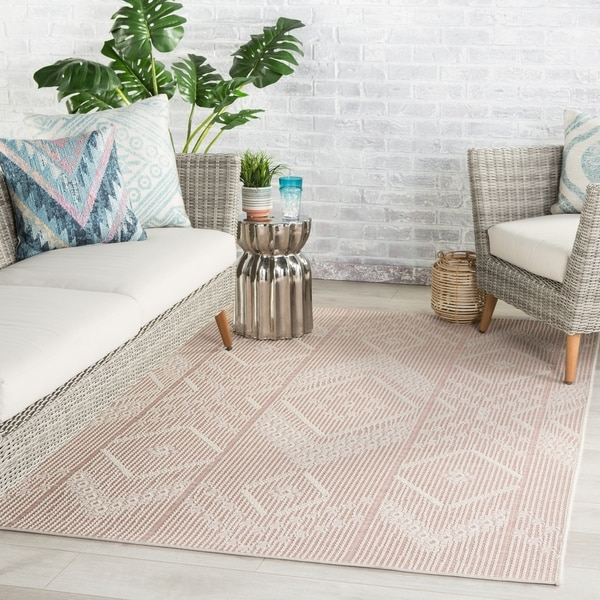 Aravela Indoor/ Outdoor Tribal Pink/ Cream Area Rug by Havenside Home. Opens flyout.