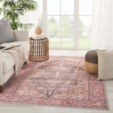 Gracewood Hollow Casely Pink and Dark Purple Area Rug