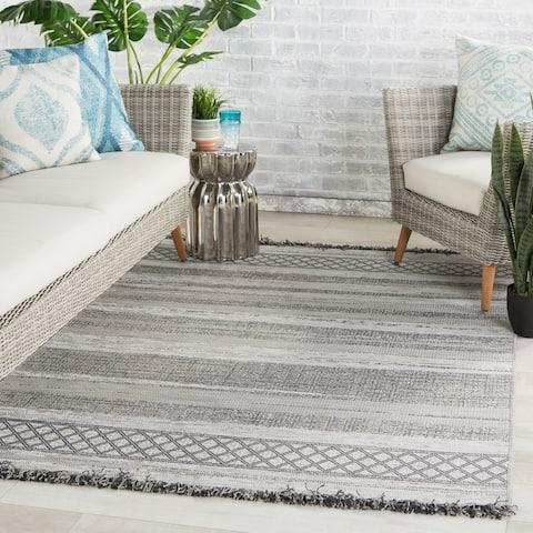 Boanerjes Indoor/ Outdoor Trellis Grey Stripe Area Rug by Havenside Home