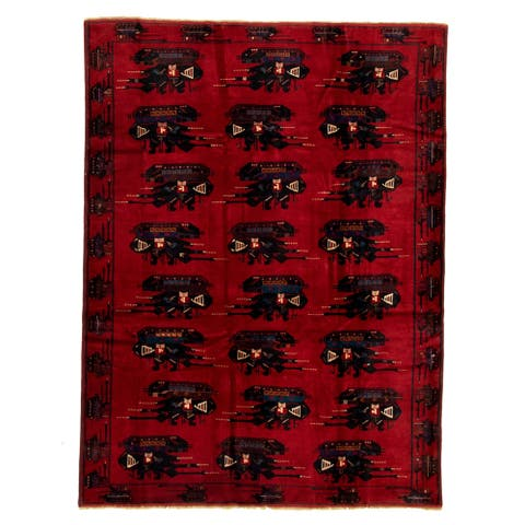 Hand-knotted Rare War Red Wool Rug