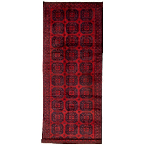 """Hand-knotted Teimani Red Wool Rug - 4'11"""" x 12'6"""" Runner"""