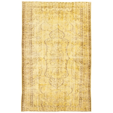 """Hand-knotted Color Transition Yellow Wool Rug - 6'0"""" x 9'1"""""""