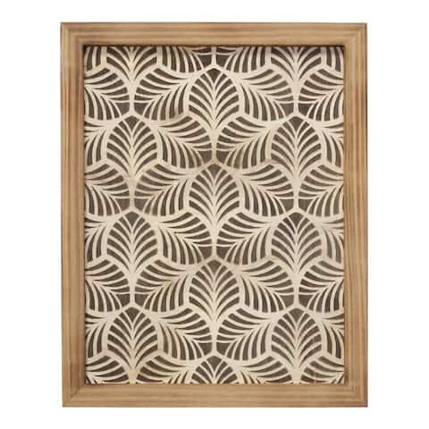 Stratton Home Decor Framed Wood Leaf Pattern Wall art - 16.00 X 1.25 X 20.00