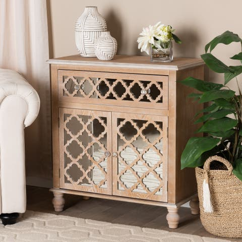 Carson Carrington Vansjo Farmhouse Rustic 1-Drawer Quatrefoil Storage Cabinet