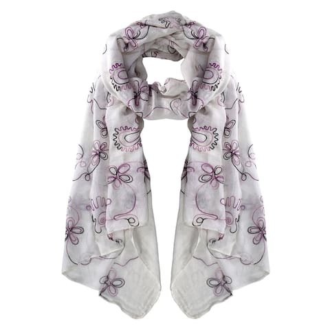 Peach Couture Fall Fashion Embroidered Sheer Floral Scarf Wrap Shawl