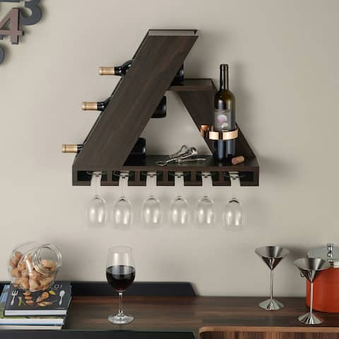 Furniture of America Tory Modern Wenge Finish Compact Wine Rack
