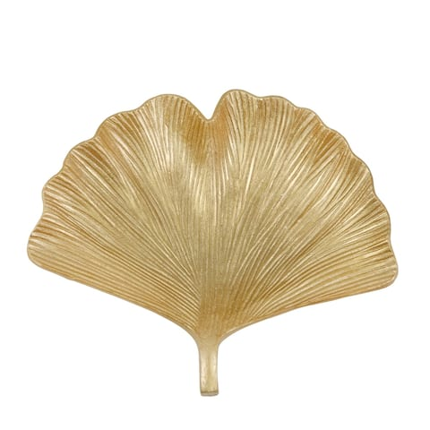 """Resin 14"""" Ginkgo Plate, Gold"""