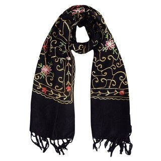 Link to Peach Couture Womens Embroidered Flower Wool Pashmina Scarf Wrap Similar Items in Scarves & Wraps