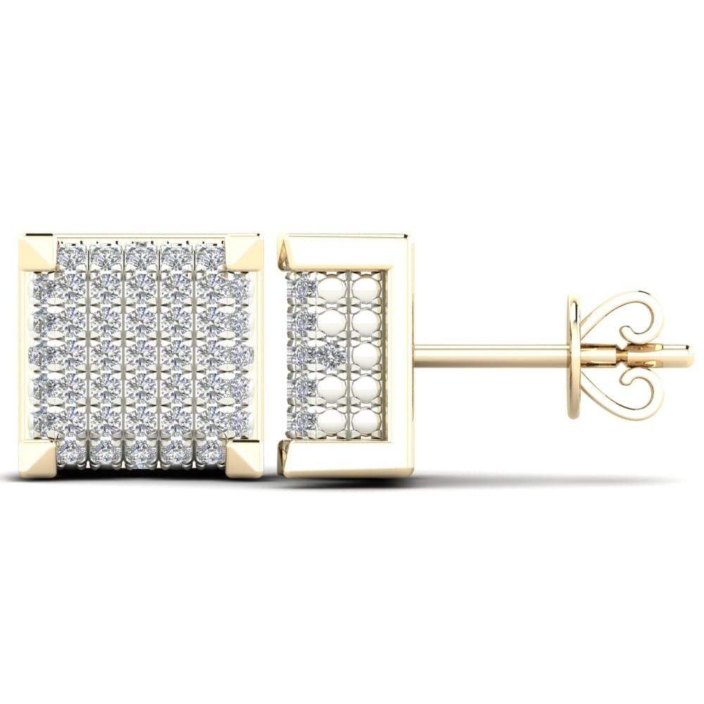 Shop AALILLY 14K Yellow Gold 1/5ct TDW Diamond Square Stud Earrings (H-I, I1-I2) - 31093531