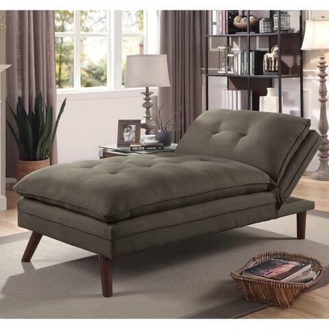 Furniture of America Damien Grey Linen Mid-century Chaise