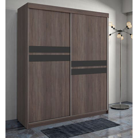 Maryville Solid Wood 59 Inch Chocolate Brown Armoire with Black Stripes