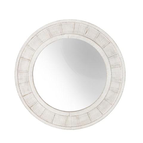 "Wood Frame 28"" Wall Mirror, Antique White Wb"