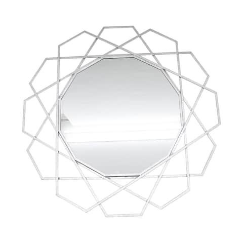 """Metal 35"""" Geometric Mirror, Silver"""