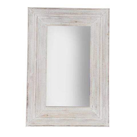 "Wood Frame 24 X 36"" Wall Mirror, Antique White Wb"