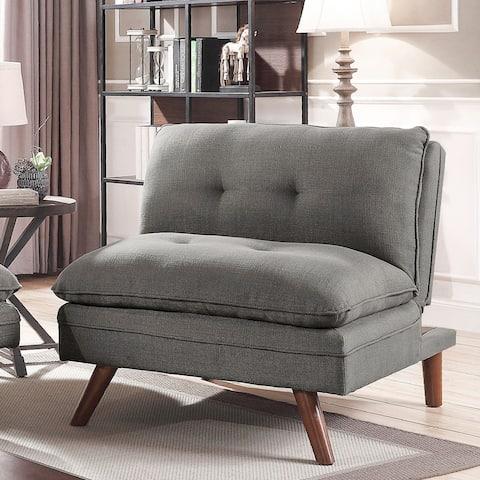 Furniture of America Damien Grey Linen Mid-century Chair