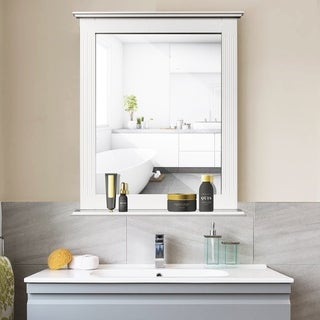 Link to Square Vanity Makeup Mirror Bathroom Wall Mirror with Holding Shelf Similar Items in Mirrors