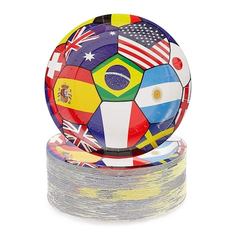"""80-Pack Football World Cup Design Disposable Paper Plates 9"""" for World Cup Party"""