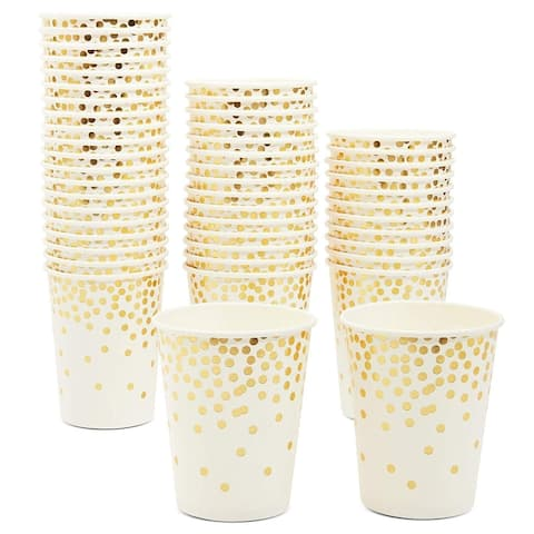 50 Pack 9oz Gold Foil Confetti Party Paper Cups for Birthday Wedding