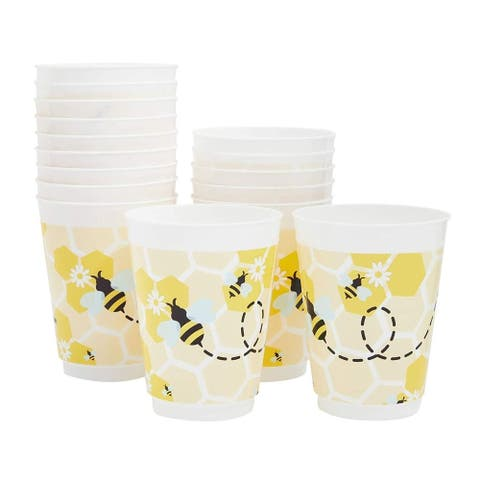 16-Pack Reusable Plastic Bumble Bee Baby Shower Party Supplies Disposable Cups