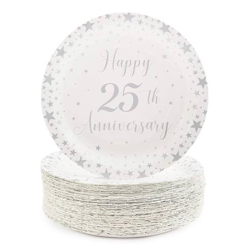 """80-Pack Happy 25th Anniversary Party Disposable Paper Plates 9"""" for Lunch Dinner"""