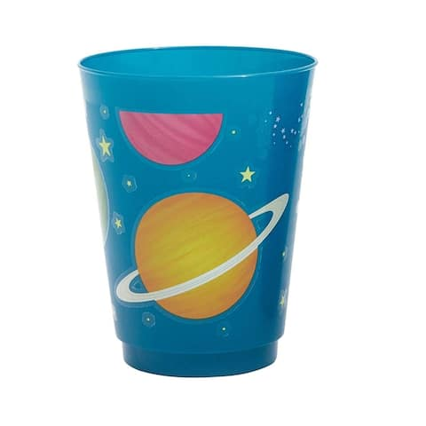 16-Pack Plastic 16 oz Party Cups, Solar System Planets Galaxy Space Reusable Tumblers for Kids Birthday
