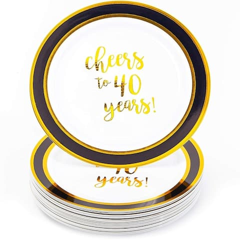 24 Packs Gold 40th Birthday Plastic Reusable Dinner Plates, Disposable Dinnerware Set for Parties, Cheers to 40 Years, 9 Inches