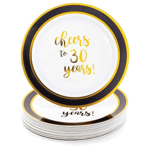 24 Packs Gold 30th Birthday Plastic Reusable Dinner Plates, Disposable Dinnerware Set for Parties, Cheers to 40 Years, 9 Inches