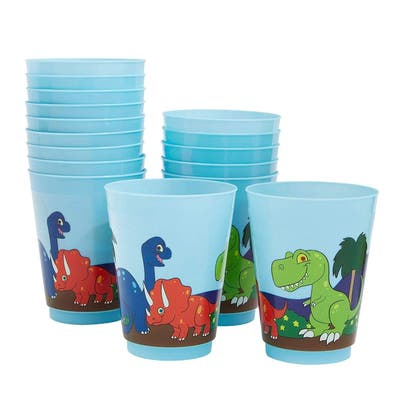 16-Pack Plastic 16 oz Party Cups, Dinosaur Reusable Tumblers for Kids Boys Birthday, Blue