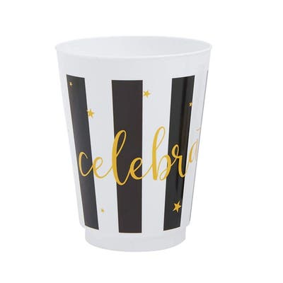 16x Plastic 16 oz Party Cups Celebrate Reusable Tumblers for Birthday Baby Shower Graduation Wedding Parties, Black and White