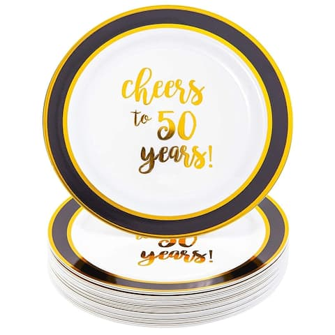 24 Packs Gold 50th Birthday Plastic Reusable Dinner Plates, Disposable Dinnerware Set for Parties, Cheers to 40 Years, 9 Inches