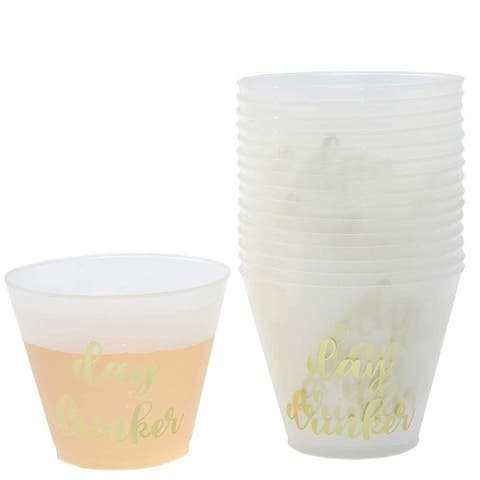 16-Pack Plastic 9 oz Wine Party Cups Gold Foil Frosted Disposable Cup for Birthday Wedding Bachelorette Parties Shower