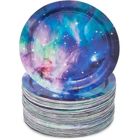 """80-Pack Cosmic Galaxy Themed Decor Disposable Paper Plates 7"""" for Birthday Party"""