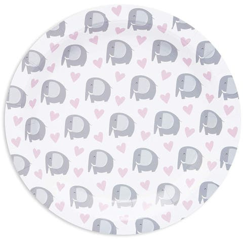 """80-Pack Cute Elephant and Heart Disposable Paper Plates 9"""" for Girls Baby Shower"""