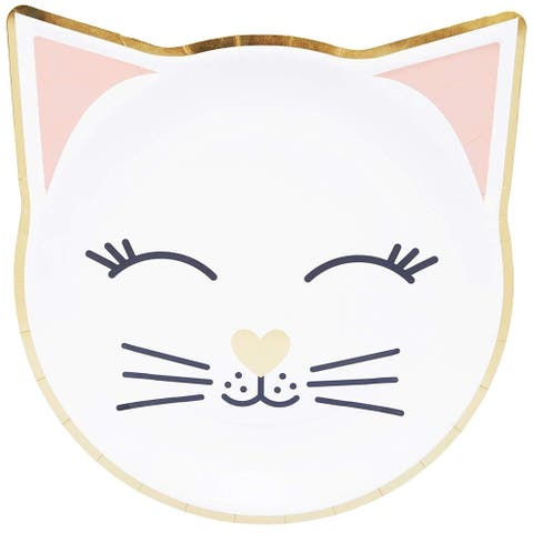 """48-Pack Cat with Gold Foil Disposable Paper Plates 9.5"""" x 9.9"""" for Birthday Party"""